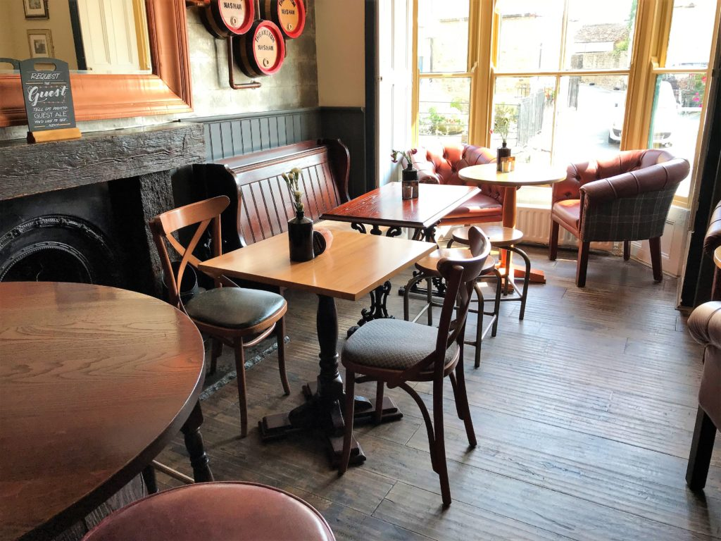 interior and tables at the Bay Horse pub in Masham