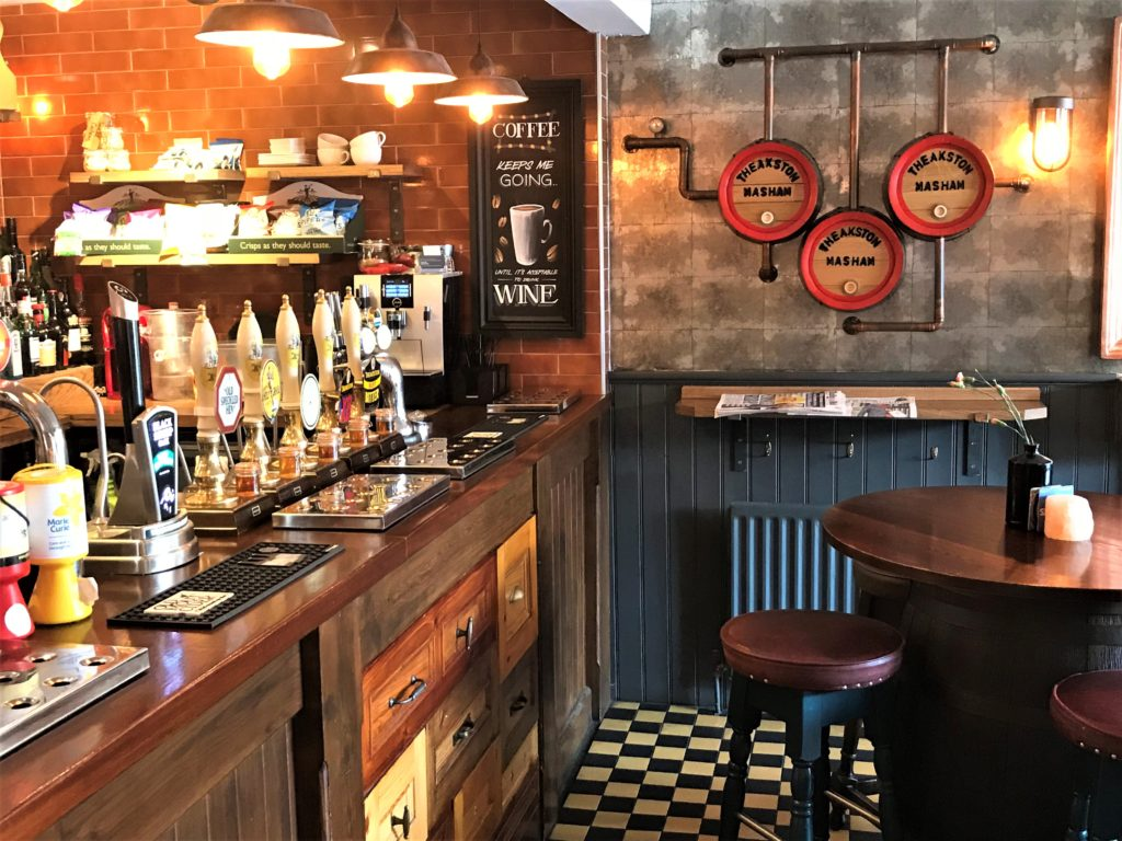 bar and cask ale taps at the Bay Horse pub in Masham