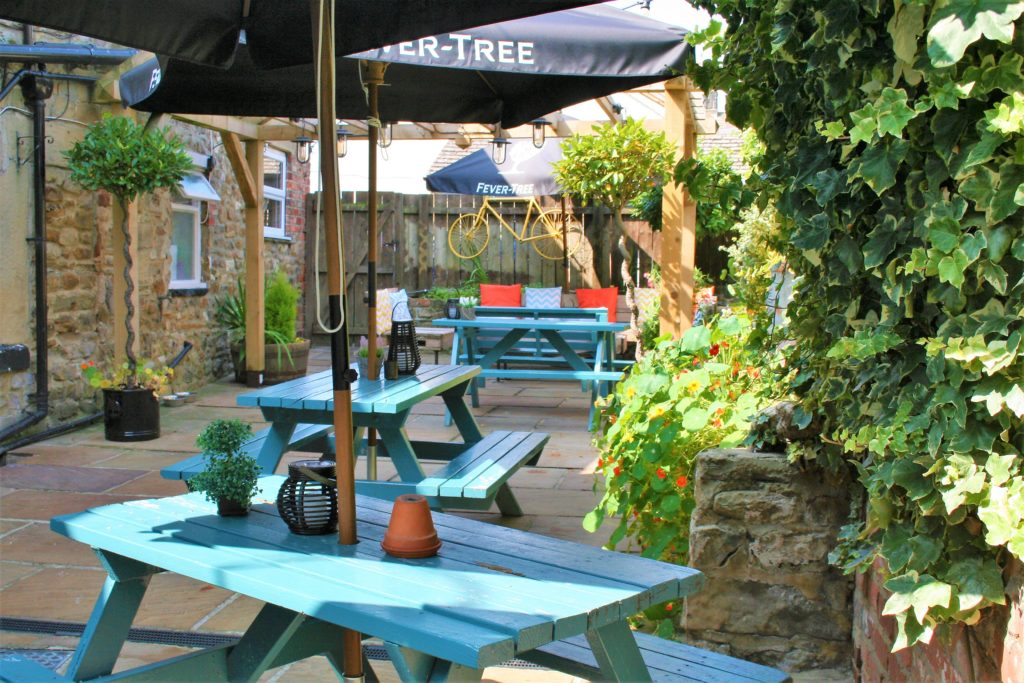 sunny beer garden at the Bay Horse pub in Masham