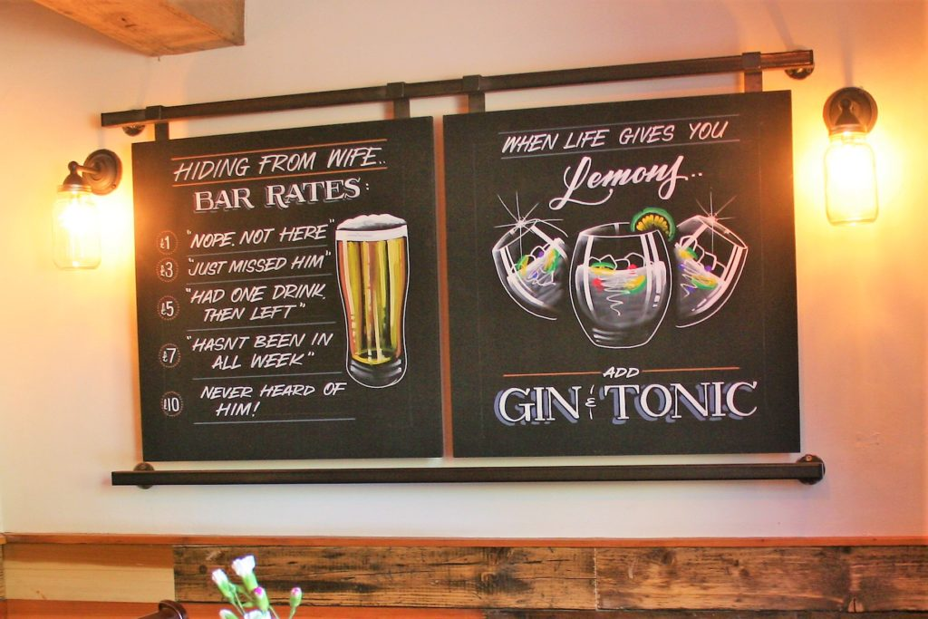 chalkboards at the Bay Horse pub in Masham