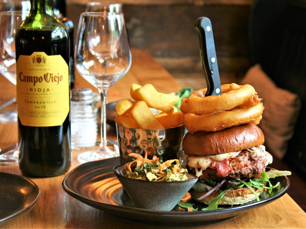gourmet burger chips and wine at the Bay Horse pub in Masham